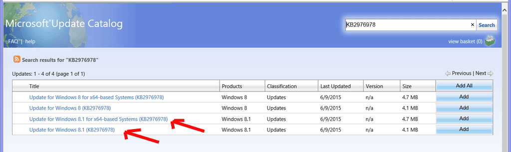 KB2976978 in Microsoft update catalog