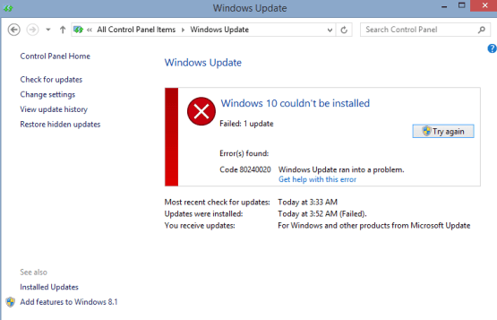 Windows 10 Failed to Install due to Error Code 80240020