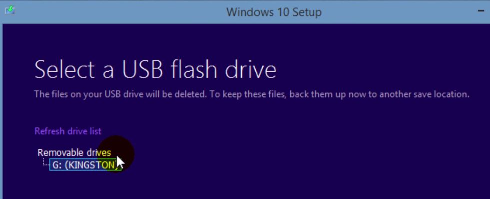 Windows 10 USB flash drive selection