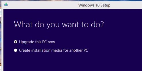 Windows 10 installation selection