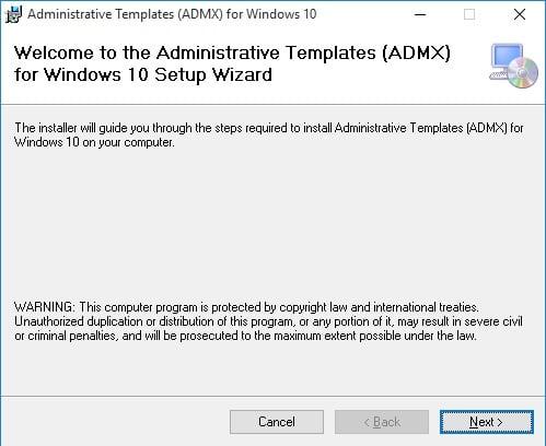 Administrative template windows 10 setup