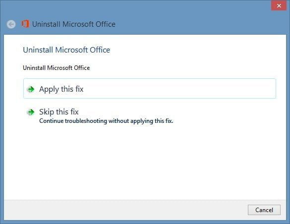 Apply Microsoft Office 2013 fix