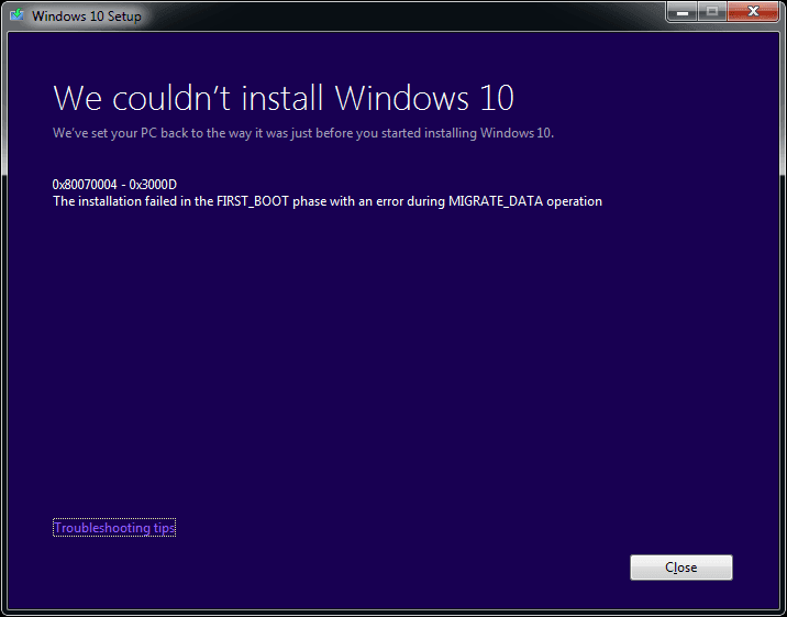 Fix Error 0x80070004 - 0x3000D While Upgrading to Windows 10