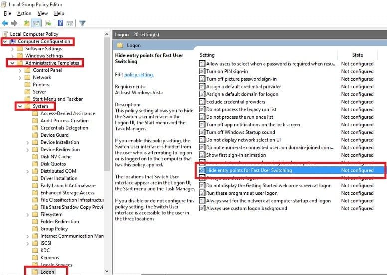 disable fast user switching win7