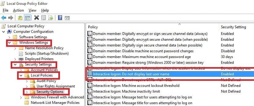 Interactive logon Do not display last user name