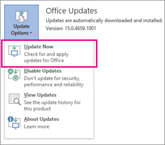 Office 365 Update Options