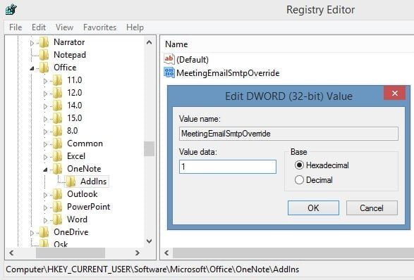 Overriding OneNote registry