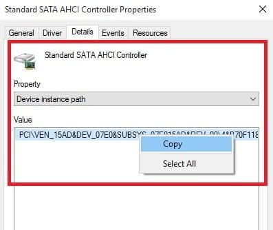 SATA AHCI Device Instance Path