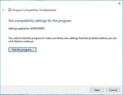 Test Compatibility Settings
