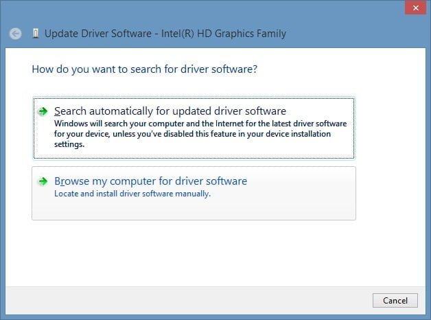 Update Driver Software Selection