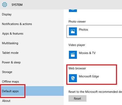 Windows 10 Default apps settings