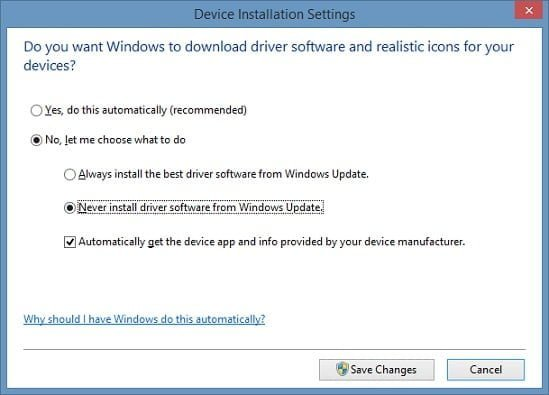 Windows 10 Driver Installation Settings