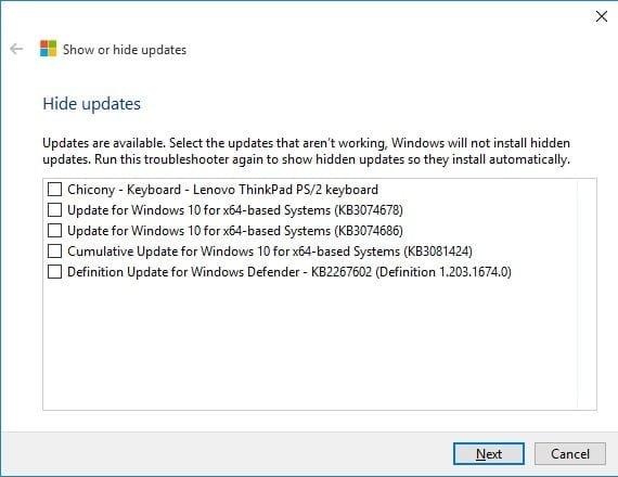 hide selected updates KB3073930
