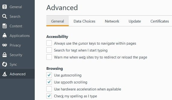 Disable Firefox Hardware Acceleration