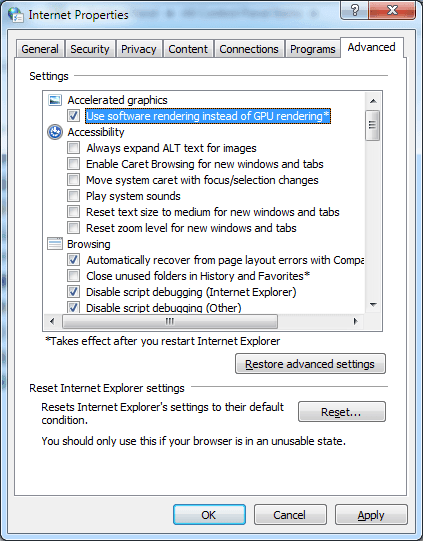 Disable Flash Hardware Acceleration IE