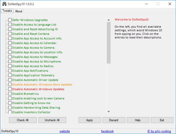DoNotSpy10 Windows 10