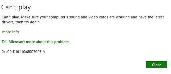 Error 0xc00d11d1 (0xc00d4e86)