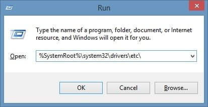 Hosts file path in Windows 7 and 8