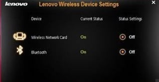 Lenovo Wireless Device Settings