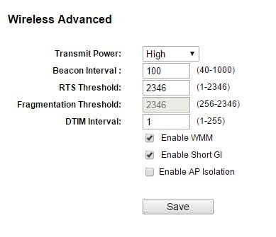 WIreless Advanced Settings