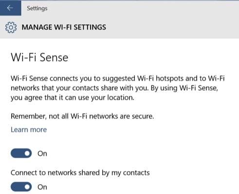 WiFi Sense in Windows 10