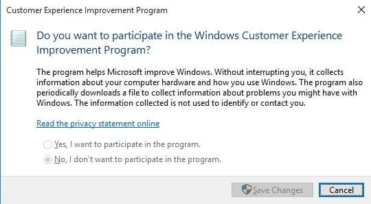 Windows 10 CEIP Setting
