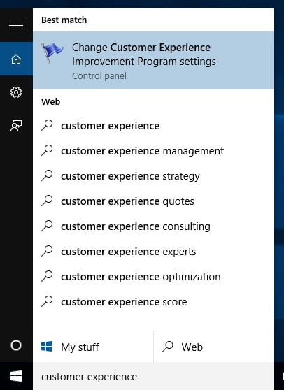 Customer Experience Program Setting