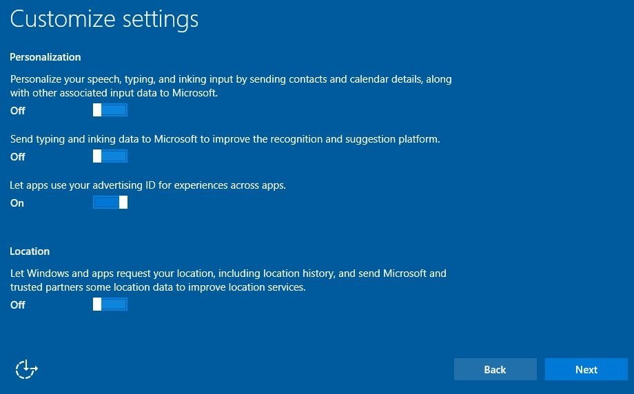 Windows 10 Personalization Settings
