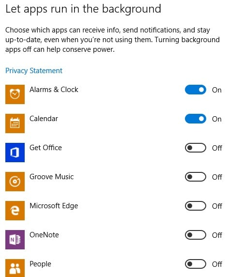 Windows 10 Privacy Background Apps Setting