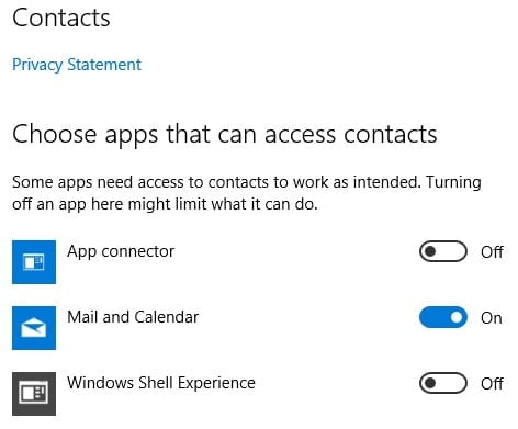 Windows 10 Privacy Contact Setting