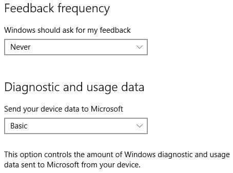 Windows 10 Privacy Feedback Setting