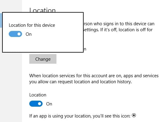 Windows 10 Privacy Location Settings