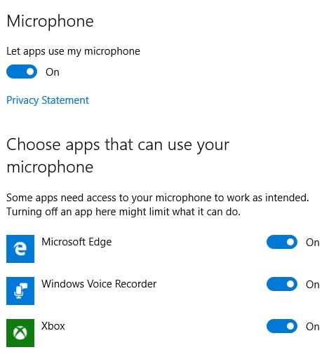 Windows 10 Privacy Microphone Setting