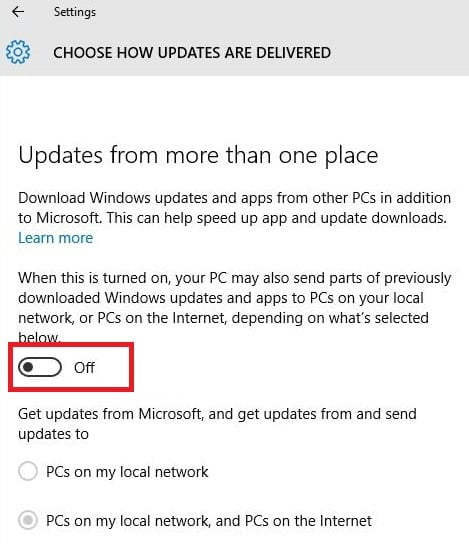 Turn OFF How Windows 10 Updates are Delivered