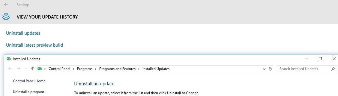 Windows 10 update uninstall
