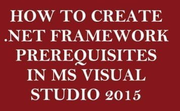How to Create .Net Framework Prerequisites Entry in Microsoft Visual Studio 2015