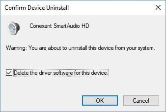 Delete the driver software for this device