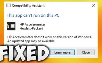 Fix HP Accelerometer doesn't work on this version of Windows. An updated app may be available