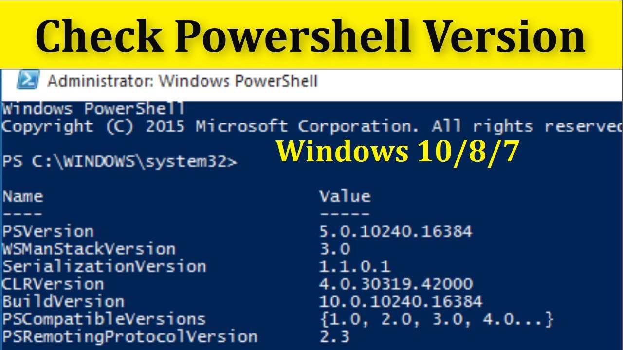How To Check Powershell Version On Windows 7, 8 & 10